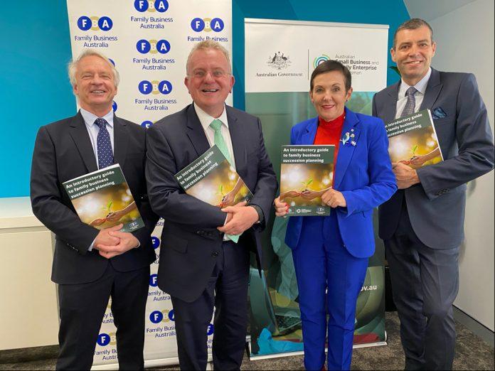L-R Mark Kagan (FBA Chairman), Bruce Billson (incoming Australian Small Business and Family Enterprise Ombudsman), Kate Carnell (Australian Small Business and Family Enterprise Ombudsman), Greg Griffith (FBA CEO).