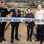 Coles York Street Store Manager Ken Wang, Coles Chairman James Graham, Lord Mayor of Sydney Clover Moore, SecondBite Chairman Julian Martin.