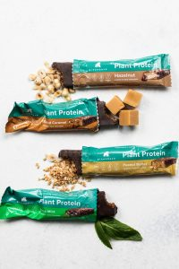 Greenback's signature range: dark chocolate covered Plant Protein bars in four flavours.