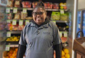 Outback Stores Store Director Audrey Inkamala at Engawala..
